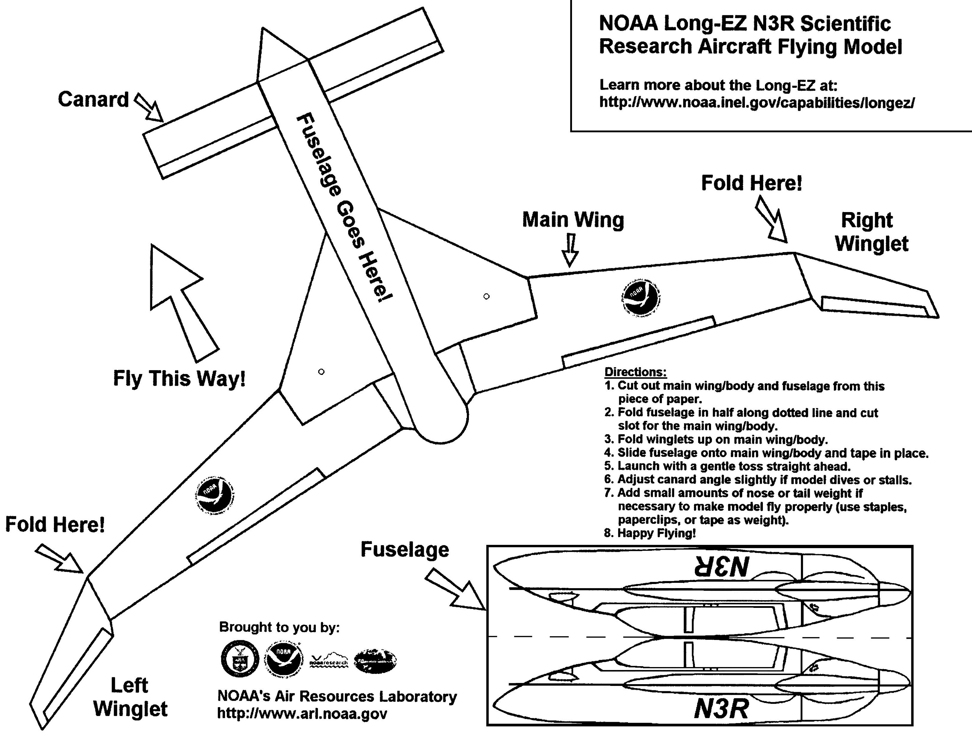Paper Airplane Templates Long-ez paper template